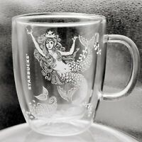 STARBUCKS Mermaid Cup Large Double Wall Glass Mug Milk Coffee Latte Cappuccino