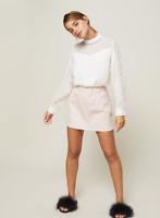 NEW RRP £32 Miss Selfridge PETITE Cream Dobby Long Sleeve Blouse (SS:31)