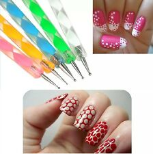 Pack of 5 Nail Art Manicure Marbleization Dotting 2 way Pens Design Tool Kit