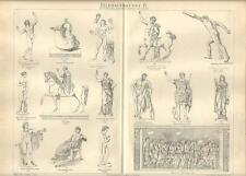 Stampa antica SCULTURA ETRUSCA GRECA ROMANA 1890 Old antique print