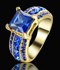 Hot Lady/Women's 14KT Yellow Gold Filled Sapphire Wedding Ring Gift size 7 Gift