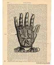 Mechanical Hand Art Print on Antique Book Page Vintage Illustration Machine