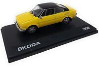 Abrex Model Car DieCast 1/43 Skoda 110 R Coupe Yellow Black 1980 display case