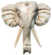 NEU Schöne 40 cm Wand Maske Elefant Holz Bali Maske48.40hell