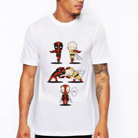 Funny Deadpool ONE PUNCH MAN Printed Casual Short Sleeve T-shirt Tee Top Summer