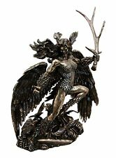 Irish Mythology War Goddess Sister Morrigan w Antler Sword Figurine Statue