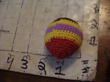 VINTAGE hacky sack--no logo SIPA SIPA crocheted footbag 5 COLOR, UNUSED, TIGHT