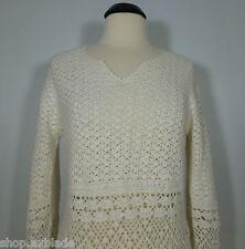 TIARA INTERNATIONAL V-Neck Ivory Knit Crochet Sweater size S