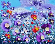 Mauve Meadow Flowers in Love, an original oil painting on canvas, by Phil Broad