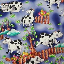 """Black White Happy Cow Bull Ferdinand Novelty Craft Quilt Fabric Remnant 10""""x90"""""""