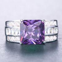 Elegant Princess Cut Amethyst Women 925 Silver Jewelry Wedding Ring Size 6-10