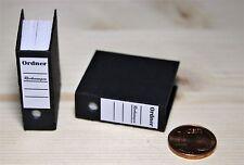 1 Aktenordner schwarz  Miniatur 1:12  Zubehör Büro Puppenstube Diorama