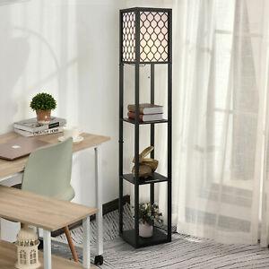 3Tier Shelf Floor Lamp Shade Standing Reading Light Shelves Storage Living Room