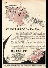"1952 RENAULT 4 SEAT 750 A4 POSTER GLOSS PRINT LAMINATED 11.7""x8.3"""