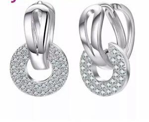 Klapp Creolen Doppelreihen echt Sterling Silber 925 Damen Kreolen Ohrringe Neu