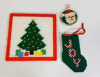 Vintage Needle Point Set Christmas Holiday Ornament Cross Stitch Handmade Santa