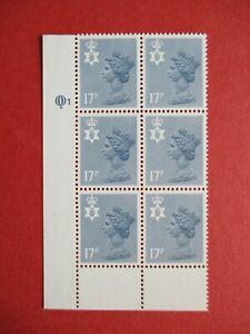 SGNI43 Northern Ireland 1984 17p Type I Grey Blue Questa Cylinder Block 1 MNH