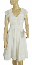 142112 New French Connection Floral Patchwork Embroidered Cotton White Dress XS