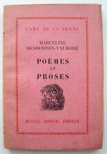 DESBORDES-VALMORE, Marceline - Poèmes et proses - Marcel Seheur - 1928 - Ex. N°