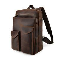 Men Leather Backpack Work 14'' Laptop Bag Daypack School Bag Satchel Travel Bag