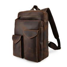 """Vintage Men's Leather 14"""" Laptop Backpack Book Student School Bag Hiking Handbag"""