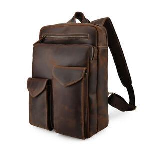 Men Leather Backpack Travel Bag Work 14'' Laptop Case Daypack School Bag Satchel