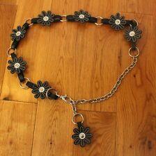 "Black Flower Chain belt one size S M L XL Adjustable fits 28"" - 37"" hippie boho"