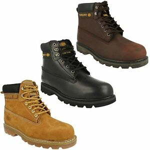 MENS TRUKA BROWN BLACK LACE UP STEEL TOE CAP SAFETY WORK SHOES ANKLE BOOTS