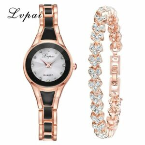 LVPAI Ladies Women Rose Gold Watch Stone Set Bangle/ Bracelet Style Gift / Box