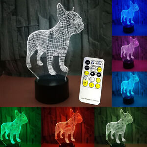 French Bulldog 3D Lamp LED Night Light 7 Colors USB Touch Table Desk Lamp Gift