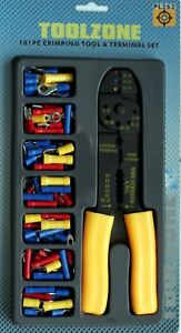 """Crimper Pliers Crimping Tool Set Cable Wire Electrical Terminal 101pc Cutter 8"""""""