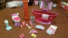 Barbie Doll Bathroom Furniture Bathtub Floor Scale Toilet Shelf Unit Access
