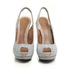 Fendi 8K4264 Gray Peep Toe Leather Platform Sandal 8 38 NIB $1200