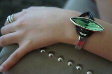 "NWT Uno De 50 Mint Elements Crystal NIGHT VISION Silver Statement Bracelet 6.5"""