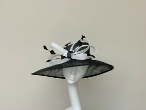 Black & White Large Brim Wedding Occasion Races Hat