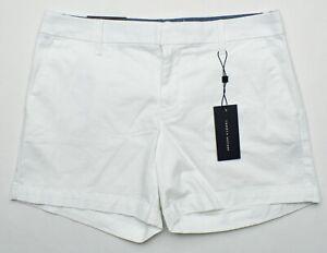 "Tommy Hilfiger #11008 NEW Women White 5"" Inseam Stretch Hollywood Shorts $49.50"