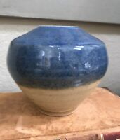 "Blue Brown Glazed Studio Pottery Vase Signed by Artist Measures 5 1/4 "" tall"