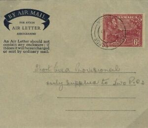 JAMAICA KGVI Stationery PROVISIONAL AIR-LETTER 6d Air Mail {samwells-covers}SG20