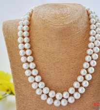 "New 34 ""10-11mm akoya white round freshwater cultured pearl necklace AAA"