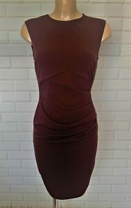 Chocolate Brown Ruch Front Wiggle Pencil Smart Office Shift Dress Size 10-18