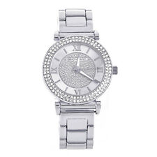 Lady's Women's Fashion CZ Iced Silver Plated Metal Band Watches WM 8010 S