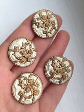 Four 4 x Antique embossed, enamel and gilt buttons. Circa 1900