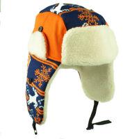 Denver Trapper Aviator Knit Beanie Fleece Nordic Hat Ear Flap Orange Blue State