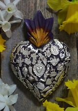 #2 Medium Purple Sacred Heart Wood & Milagros Miracle Mexican Folk Art Michoacán