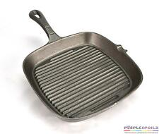 SKILLET GRILL PAN BBQ Grillpan Ribbed Griddle Bottom Cast Iron Cookware Square