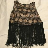 Ladies New Look Black Brown Sheet size 8 fringed top - boho hippie Aztec Ethnic
