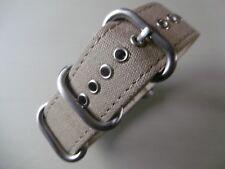 Uhrenarmband 22 mm khaki Strap Canvas Nato ZULU Rundring Edelstahl matt Uhrband