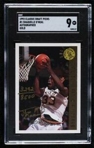 1992 Classic Draft Picks Gold /8500 Shaquille O'Neal #SHON SGC 9 Rookie Auto HOF
