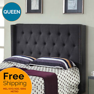 Bed Frame Queen Bed Head Linen Padded Fabric Headboard Bedhead Charcoal Milano