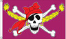 Girls Pirate Flag 5ft x 3ft Large Jolly Roger Skull and Crossbones Purple Flags